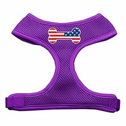 Mirage Pet Bone Flag USA Screen Print Soft Mesh Dog Harness