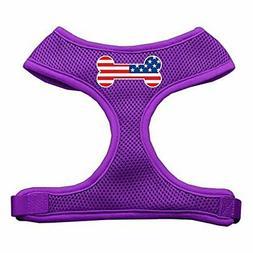 Mirage Pet Bone Flag USA Screen Print Soft Mesh Dog Harness