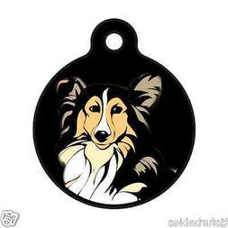 Sheltie Shetland Dog Art Personalized Pet ID Tag for Dog Col