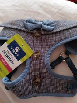 ADORABLE TOP PAW DOG BOWTIE CHAMBRAY HARNESS VEST, SIZE extr