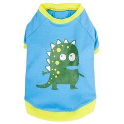Blueberry Pet Alien the Dinosaur Cotton Dog Shirt in Blue fo