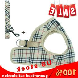 Beige Stylish Plaid Dog Harness With Leash Adjustable Dog Ha