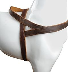 """Beirui Brown 1"""" Width Genuine Leather Soft Padded Dog Harnes"""