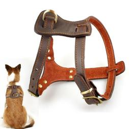 Brown Genuine Leather Dog Harness Pet Training Harness for M