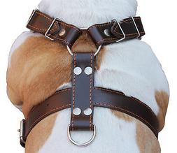 """Brown Genuine Leather Dog Harness Large. 30""""-35"""" Chest, 1.5"""""""