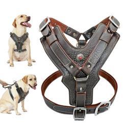 Brown Genuine Leather Large Dog Harness Vest for Pitbull Bul