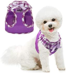 PUPTECK Checkered Frills Soft Mesh Dog Vest Harness Puppy Pa