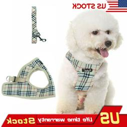 Classic Plaid Pet Dog Harness With Leash Cream Comfort Dog P