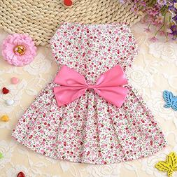 365Cor Cute Dog Dress Summer Soft Cotton Printing Bow Pet Pu