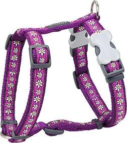 Red Dingo Designer Dog Harness, Small, Daisy Chain Purple