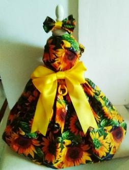 DOG DRESS/harness  SUNFLOWER AND BIRDS NEW   FREE SHIPPING