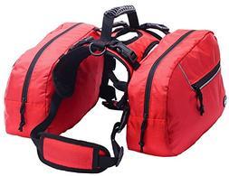 BINGPET Medium Dog Harness Backpack Doggie Saddlebags with 2