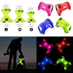 Dog Harness Glowing Led Green USB Rechargeable Soft Mesh Ves