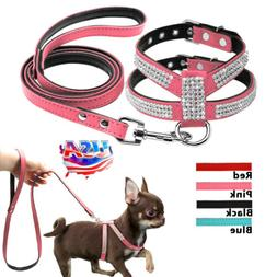 Dog Harness Leash Set Suede Leather Rhinestone Pet Harnesses