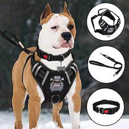 Dog Harness No-Pull Vest Set Reflective Adjustable Oxford Ma