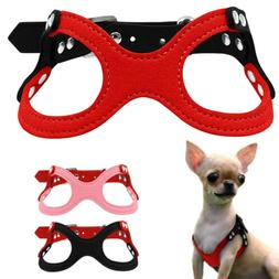 Dog Harness Soft Suede Leather Small Puppy Pet Chest for Pup