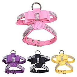 Dog Harness Strap Lead Bling Rhinestone Pet Necklace Leather