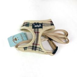 dog harness with leash plaid adjustable puppy