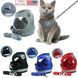 Dog Mesh Harness Pet Cat Harness Leash Set Walk Collar Safet