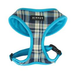 Puppia - Dog Puppy Soft Harness - Spring - Blue Plaid - XS,
