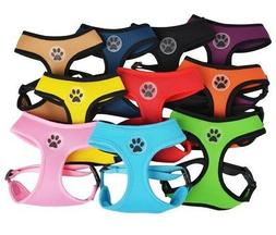 Dog Puppy Soft Mesh Harness - Paw Design - 4 Sizes - 10 Colo
