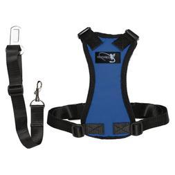Copatchy dog seatbelt harness medium blue