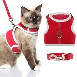 BINGPET Escape Proof Cat Harness and Leash Set, Christmas Pe