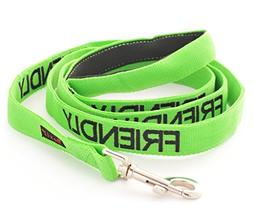 FRIENDLY Green Color Coded 6 Foot Padded Dog Leash  PREVENTS