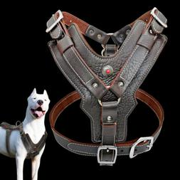 Genuine Leather Dog Harness Large Breed & Handle Heavy Duty
