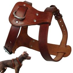 Genuine Leather Dog Harness Small to Large Dogs Heavy Duty W