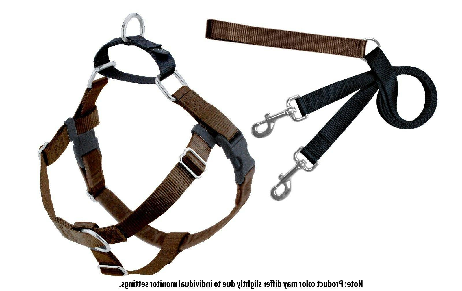 2 Hounds Design Freedom Training Dog Harness and Leash Brown