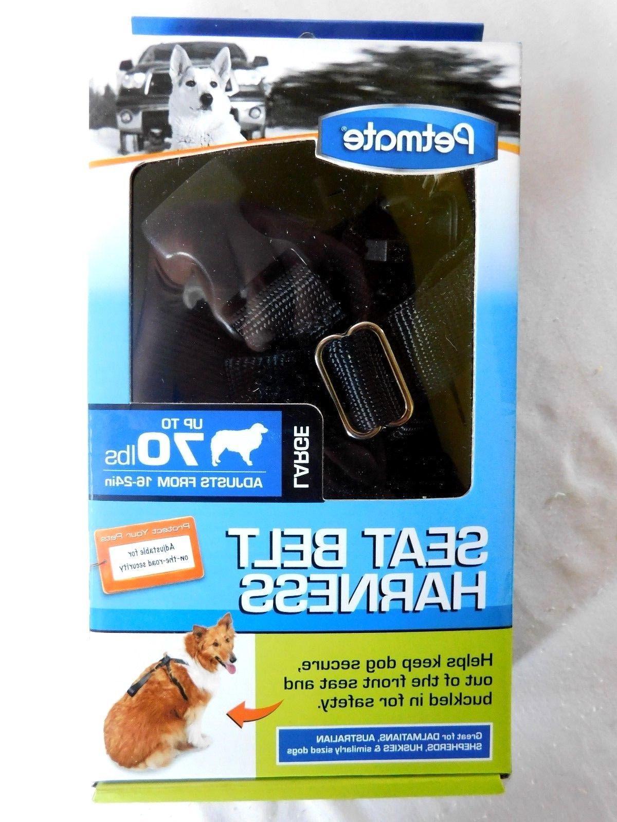 Dog Seat Belt Harness Petmate Large Black Up to 70 lbs Adjus