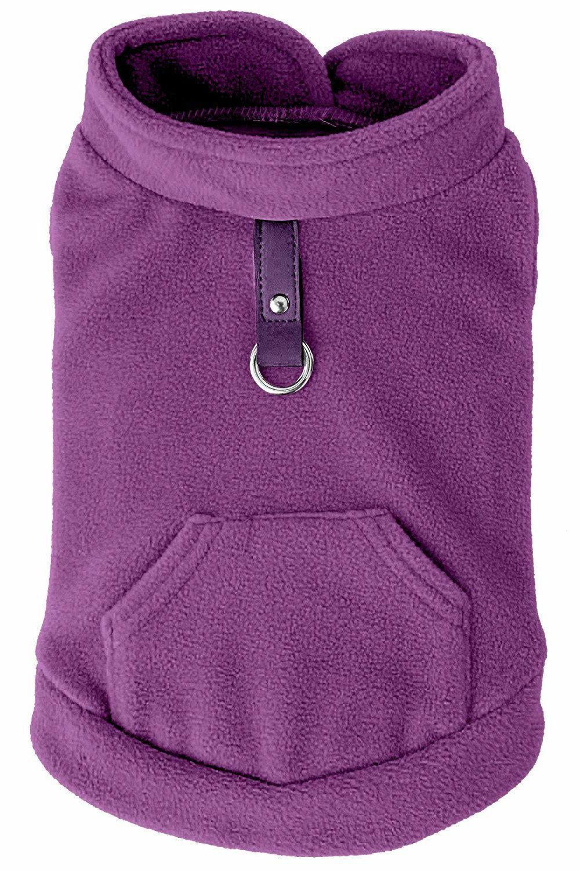EXPAWLORER Fleece Cold Weather Dog Vest Harness Clothes w/ P