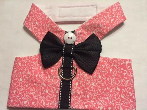 "Pink ""Bird"" Spiral with Black Bow Harness Vest Dog - M"