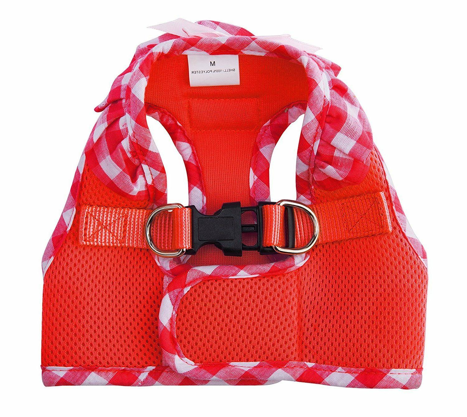 Pupteck Small Red Checkered Frills Soft Mesh Dog Vest Harnes
