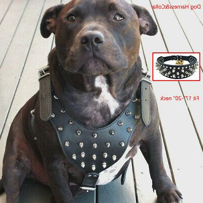 Spiked Studded PU Leather Dog Harness&Collar Set Pitbull Lar