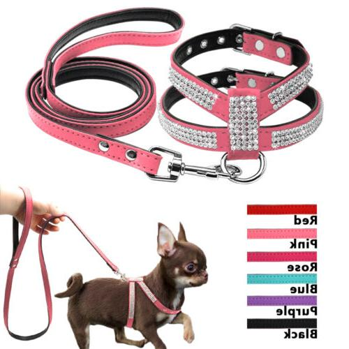 Bling Rhinestone Pet Puppy Dog Harness&Leash Set Suede Leath