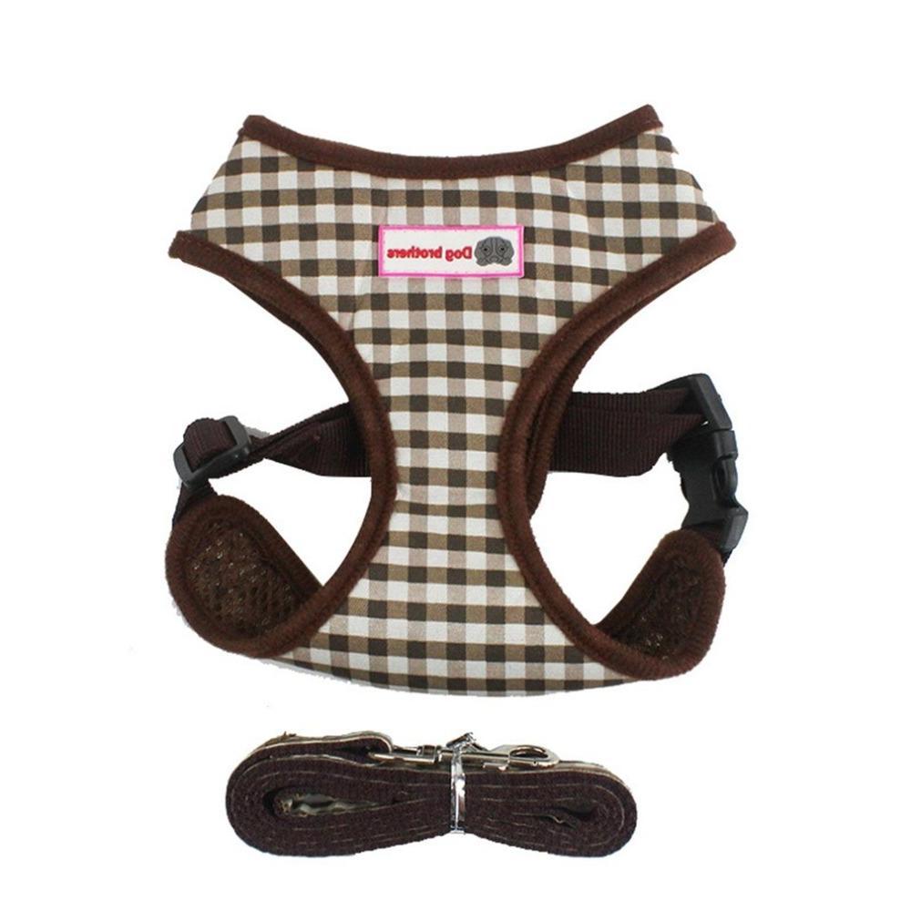 Breathable pet straps chest pink plaid <font><b>dog</b></font> <font><b>harness</b></font> <font><b>leash</b></font>