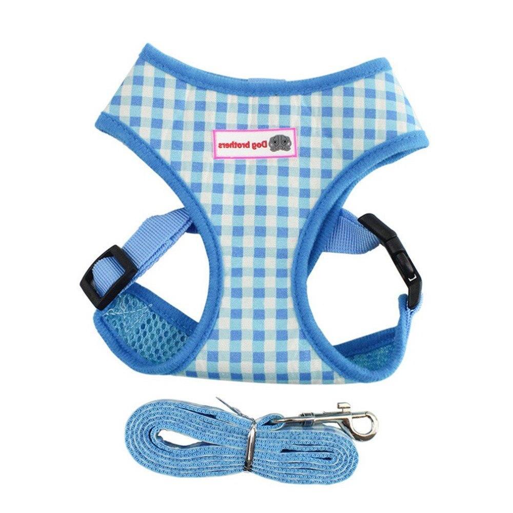 Breathable straps chest strap plaid <font><b>dog</b></font> <font><b>harness</b></font> <font><b>leash</b></font>