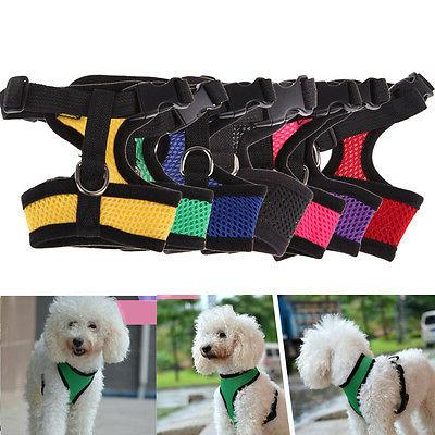 Soft Mesh Fabric Dog Puppy Pet Adjustable Harness Lead with