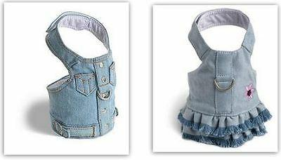 Denim Dog Harness by Doggles Blue Jean Style Size Choice Sty