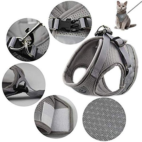 GAUTERF and Universal with Leash Set, Escape Proof Cat Soft Corduroy Harnesses Best Supplies