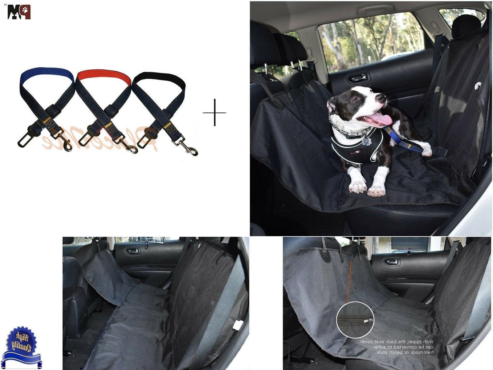 Dog Hammock Back Seat Cover Seat Belt Clip Combo BONUS Refle