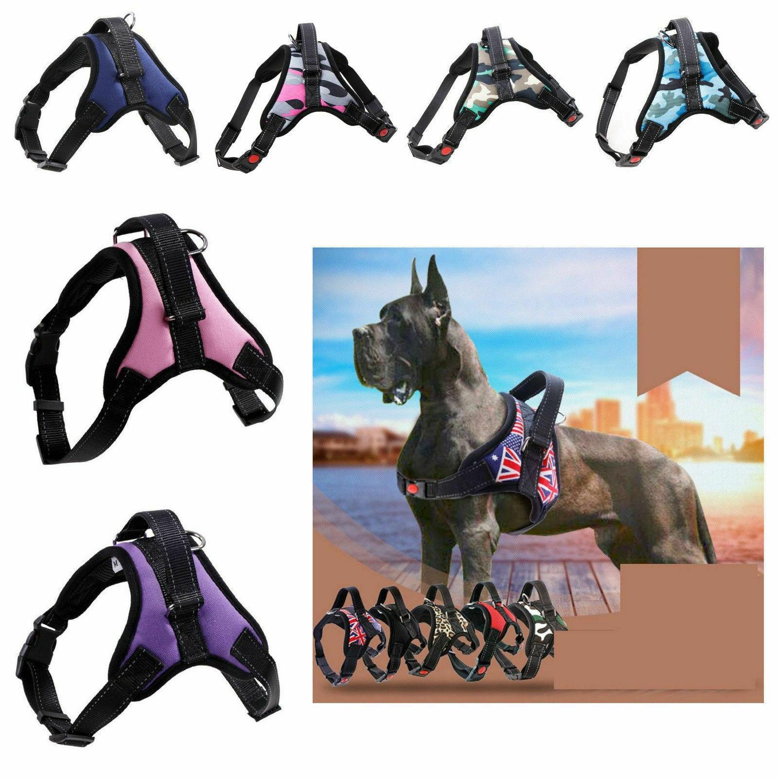 dog harness adjustable heavy duty reflective padded