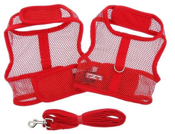 Dog Harness & Leash 2 pc Red Cool Mesh Netted by Doggie Desi