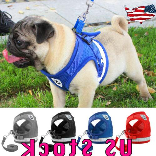 Dog Harness Pug Dog Puppy Vest Reflective Leash