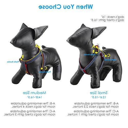 URPOWER Dog Adjustable Set Denim Leash Collar for Small, Large Daily Training Walking )