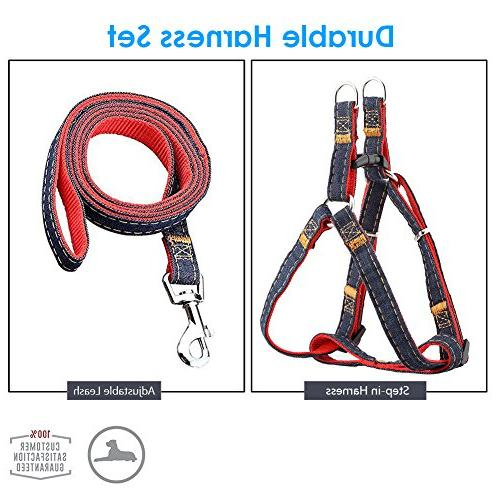 URPOWER Dog Leash Adjustable Set & Denim Leash for Small, Medium Large Dog, Perfect for Daily Training )