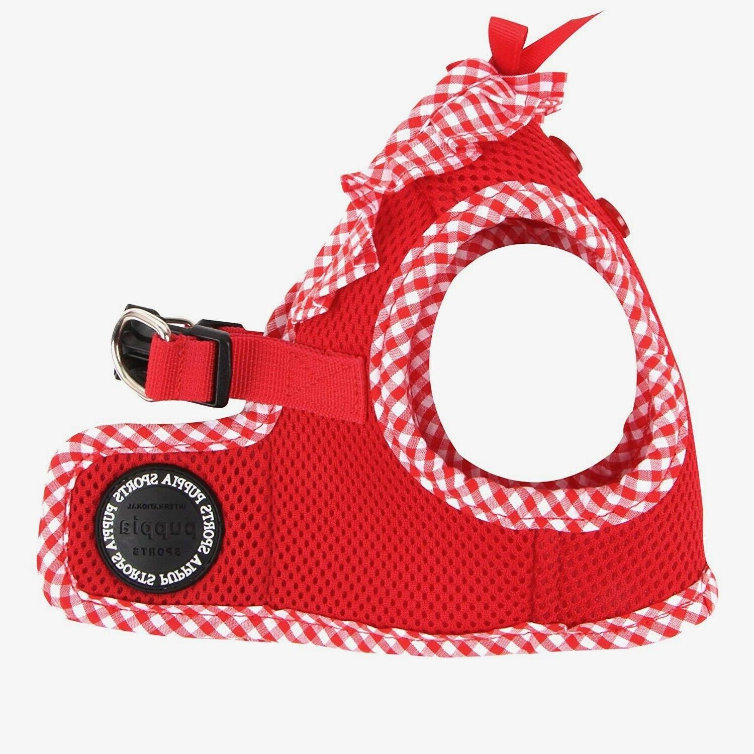 dog puppy harness soft vest vivien red