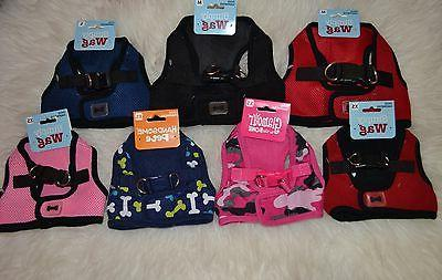 DOG SOFT HARNESS MALE FEMALE PINK RED NAVY BLUE BLACK XS S M